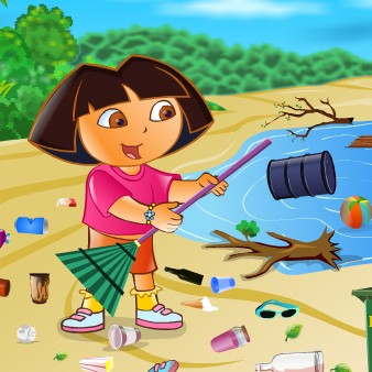 Ecofreak dora cleaning beach